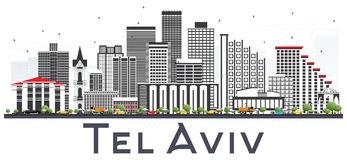 Teléfono Aviv Israel City Skyline con Gray Buildings Isolated en Whi ilustración del vector