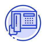 Teléfono, teléfono, célula, línea de puntos azul línea icono del hardware ilustración del vector