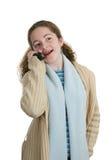 Teléfono celular adolescente - charlando Fotos de archivo