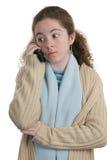 Teléfono celular adolescente - sorpresa Foto de archivo libre de regalías