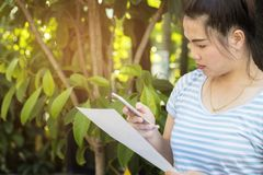Teléfono celular asiático hermoso del control de la mujer y el usar para comprobar el correo electrónico, fotografía de archivo libre de regalías