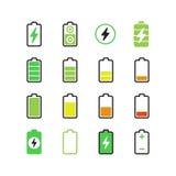 Teléfono celular, carga eléctrica del smartphone, iconos del vector de la energía de la batería ilustración del vector