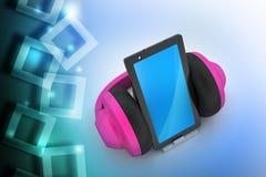 Teléfono celular con los auriculares Foto de archivo libre de regalías
