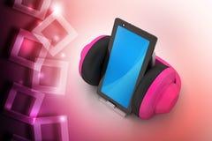 Teléfono celular con los auriculares Imagen de archivo libre de regalías