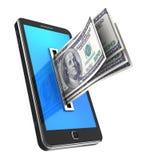 Teléfono celular con los dólares ilustración del vector
