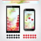 Teléfono celular con una venda floral brillante Fotografía de archivo