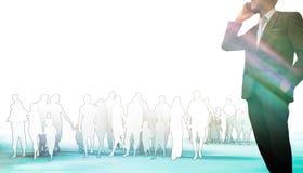 Teléfono celular de la charla del hombre de Business del líder y equipo/monótono azul stock de ilustración