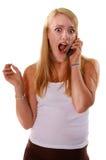 Teléfono celular de la muchacha de la High School secundaria Fotografía de archivo