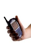 Teléfono celular de la zarzamora a disposición Fotografía de archivo