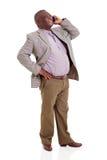 Teléfono celular del hombre que habla africano mayor Foto de archivo