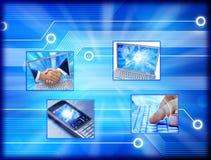 Teléfono celular del ordenador del comercio electrónico Fotografía de archivo