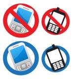 Teléfono celular permitido y prohibido Fotos de archivo
