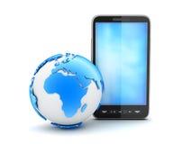Teléfono celular y globo de la tierra Imágenes de archivo libres de regalías