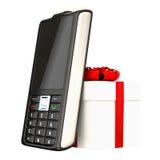 Teléfono celular y regalo Imagenes de archivo