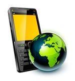 Teléfono celular y tierra Imagen de archivo libre de regalías