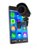 Teléfono con la cámara en el fondo blanco Imagen de archivo libre de regalías