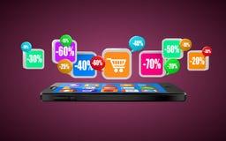 Teléfono con los iconos del app Compra móvil Compras de Internet o concepto del comercio ilustración del vector