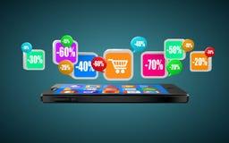 Teléfono con los iconos del app Compra móvil Compras de Internet o concepto del comercio libre illustration