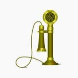 Teléfono de antaño con el alambre Foto de archivo