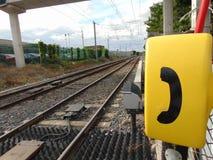 Teléfono de la emergencia en ferrocarril Fotografía de archivo libre de regalías