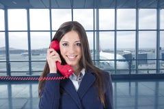 Teléfono de la empresaria Foto de archivo libre de regalías