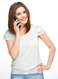 Teléfono de la mujer que llama aislado en blanco Fotografía de archivo