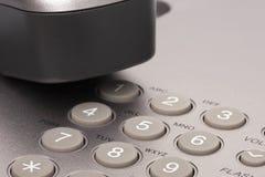 Teléfono de la oficina Detalle del auricular y del telclado numérico imagen de archivo