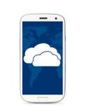 Teléfono de la pantalla táctil de la nube Fotos de archivo