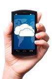 Teléfono de la pantalla táctil de la nube Fotos de archivo libres de regalías