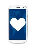Teléfono de la pantalla táctil del corazón Imágenes de archivo libres de regalías