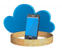 Teléfono de la protección en el fondo blanco 3D aislado Imagen de archivo libre de regalías