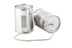 Teléfono de las latas conectado por la cadena Fotos de archivo