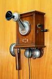 Teléfono de madera viejo Foto de archivo libre de regalías