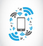 Teléfono de mobil de la red inalámbrica Fotografía de archivo libre de regalías