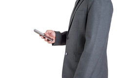Teléfono de trabajo del hombre en el fondo blanco Imagen de archivo libre de regalías