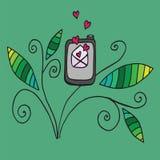 Teléfono del garabato con la letra de amor abierta Imágenes de archivo libres de regalías