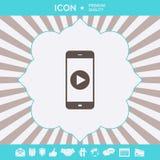 Teléfono del negocio con el icono del botón de reproducción Elementos gráficos para su diseño stock de ilustración