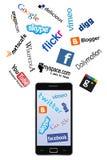 Teléfono e insignias sociales de la red stock de ilustración