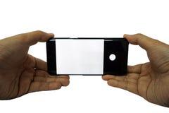 Teléfono elegante aislado en el fondo blanco imagenes de archivo
