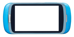 Teléfono elegante azul con la pantalla cortada Imágenes de archivo libres de regalías