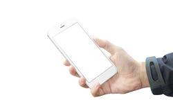 Teléfono elegante blanco aislado en mano del hombre Lado de plata con el botón del volumen Imágenes de archivo libres de regalías