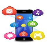 Teléfono elegante con aplicaciones Imágenes de archivo libres de regalías
