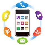 Teléfono elegante con aplicaciones stock de ilustración