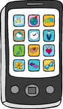 Teléfono elegante con aplicaciones Foto de archivo libre de regalías