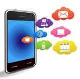 Teléfono elegante con aplicaciones en un blanco Imagen de archivo libre de regalías