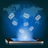 Teléfono elegante con el email global stock de ilustración