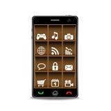 Teléfono elegante con el estante de madera y usos Imagenes de archivo