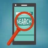 Teléfono elegante con el icono del Search Engine Fotografía de archivo