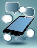 Teléfono elegante, con el medios globo del texto Foto de archivo