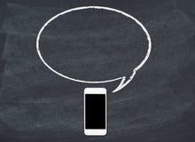 Teléfono elegante con la burbuja del discurso Imagenes de archivo